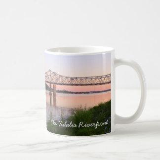 Vidalia River Front - MS River, Bridge and Barge Classic White Coffee Mug