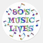 vidas de la música 80s pegatina redonda