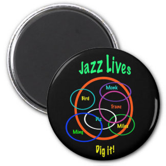Vidas del jazz imán redondo 5 cm