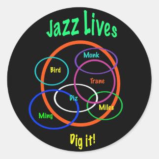 Vidas del jazz pegatina redonda