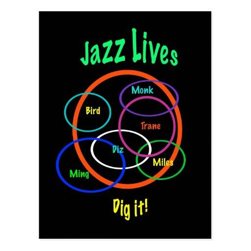 Vidas del jazz tarjetas postales