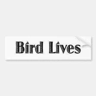 Vidas del pájaro etiqueta de parachoque