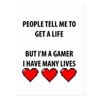 Vidas del videojugador tarjetas postales
