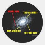 Vidas en galaxia etiqueta redonda