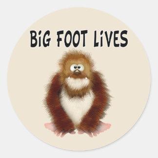 Vidas grandes del pie pegatina redonda