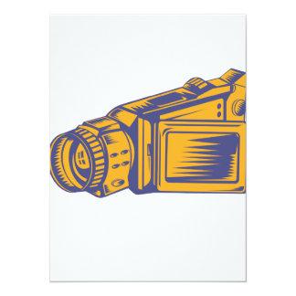 Video Camera Recorder Woodcut Custom Invite