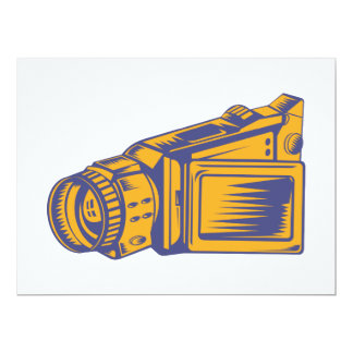 Video Camera Recorder Woodcut 17 Cm X 22 Cm Invitation Card