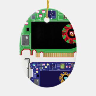 Video Card Vector Ceramic Ornament