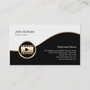 Video editor business cards templates zazzle video editor business card gold film icon colourmoves