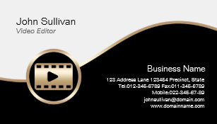 Video editor business cards zazzle video editor business card gold film icon reheart