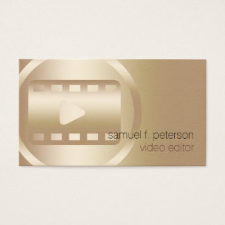 Video Editor Elegant Gold Video Strip Icon Business Card