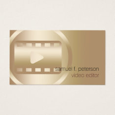Video Editor Elegant Gold Video Strip Icon Business Card at Zazzle