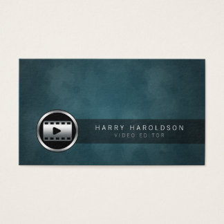 Video Editor Video Clip Icon Grunge Business Card