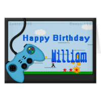 Video Game and Blue Controller Boys Birthday Card