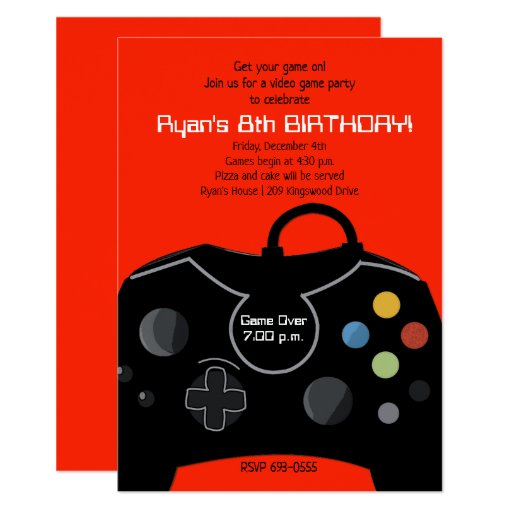 Video Game Birthday Boys Invitation Bright Red
