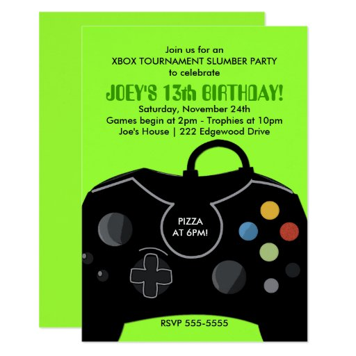 Video Game Birthday Boys Invitation Neon Green