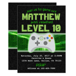 Video Game Birthday Party Invitation Invite