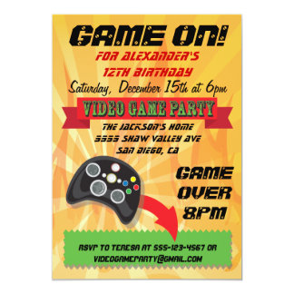 Video Game Birthday Party Invitations