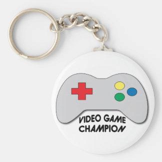 Video Game Champion Basic Round Button Keychain
