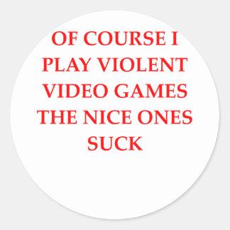 video game classic round sticker