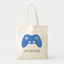 Video Game Controller Blue Gamer Personalized Kids Tote Bag