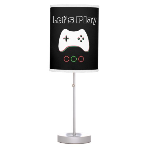 Video Game Controller, Let's Play, Red & Green Art Table Lamp