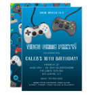 Video Game Controllers Gamer Birthday Party Card