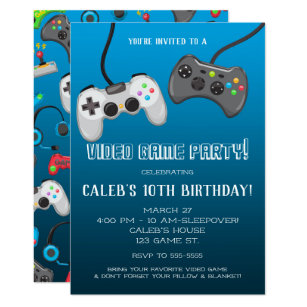 Video Game Party Invitations Announcements Zazzle