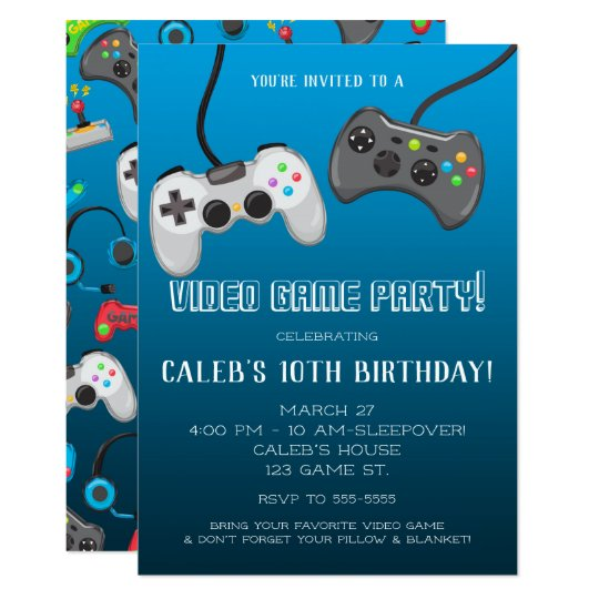 Video Game Controllers Gamer Birthday Party Invitation Zazzle Com