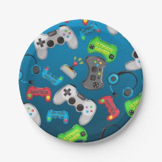 Video Game Controllers Gamer Birthday Party Paper Plate
