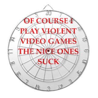video game dartboard with darts