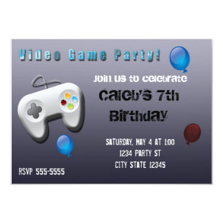 "Video Game Gamer Birthday Party Invitation 4.5"" X 6.25"" Invitation Card"