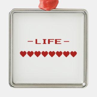 Video Game Heart Life Meter Metal Ornament