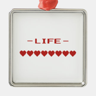 Video Game Heart Life Meter Christmas Ornaments