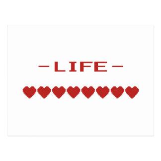 Video Game Heart Life Meter Postcard