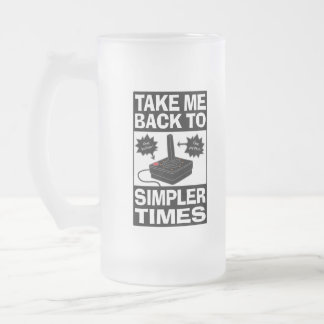 Video Game Humor Frosted Mug, Simpler Times Frosted Glass Beer Mug