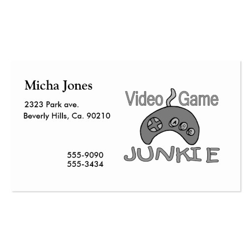 Video game junkie business card zazzle for Video game business cards