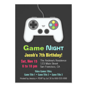 Game night invitations announcements zazzle video game night boys birthday party invitations stopboris Images