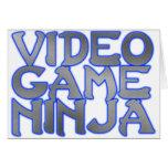 VIDEO GAME NINJA (blue) Greeting Cards