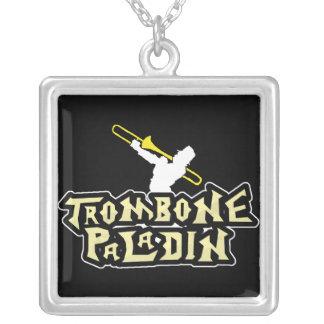 video game parody trombone paladin square pendant necklace