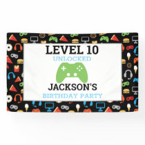 Video Game Party Level Up Kids Birthday Gamer Banner