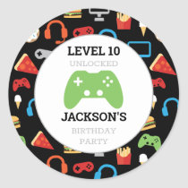 Video Game Party Level Up Kids Birthday Gamer Classic Round Sticker
