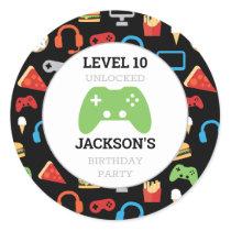 Video Game Party Level Up Kids Birthday Gamer Classic Round Sticker