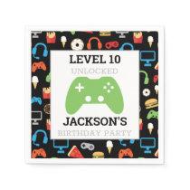 Video Game Party Level Up Kids Birthday Gamer Napkin