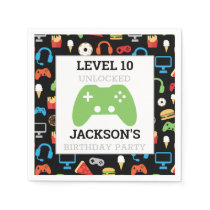 Video Game Party Level Up Kids Birthday Gamer Napkin