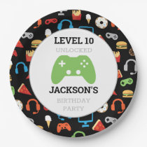 Video Game Party Level Up Kids Birthday Gamer Paper Plate