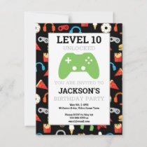 Video Game Party Level Up Kids Birthday Invitation