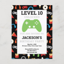 Video Game Party Level Up Kids Birthday Party Invitation Postcard