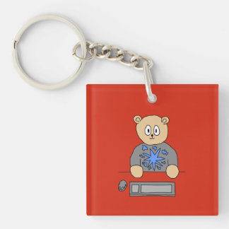 Video Game Player Bear. Acrylic Keychains