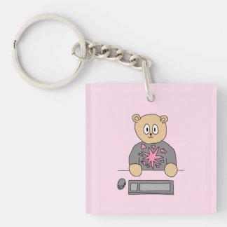 Video Game Player Bear. Acrylic Keychain
